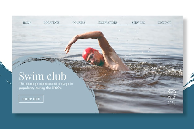 Swimming landing page concept Free Vector