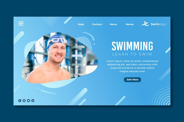 Swimming landing page with man photo Free Vector