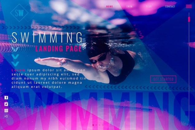 Swimming landing page Free Vector
