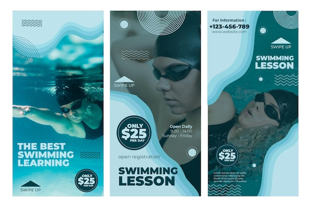 Swimming lesson instagram stories Free Vector