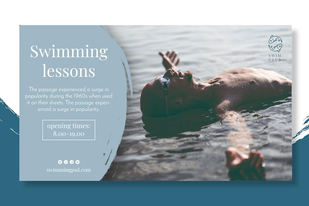 Swimming lessons banner concept Free Vector