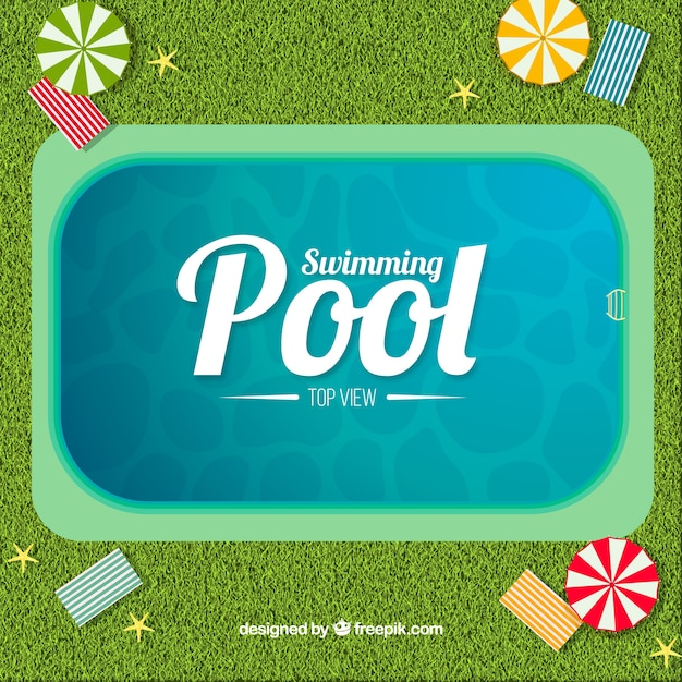 Swimming pool background in a top view