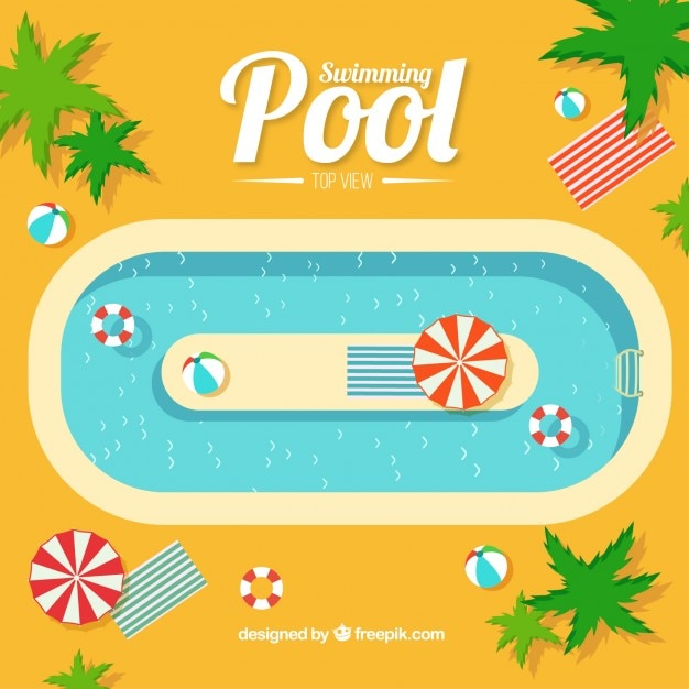 Swimming pool background with palm trees Vector | Free ...