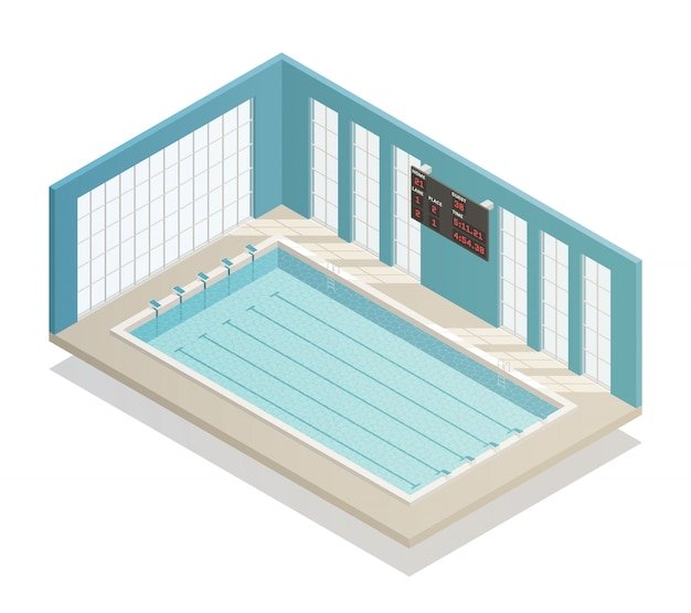 Swimming pool bath isometric view Free Vector