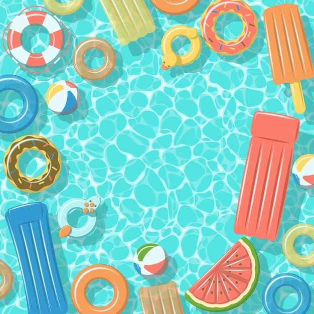 Swimming pool from top view with colorful inflatable rubber rings, rafts, beach ball and life buoy Premium Vector