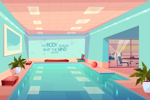 Swimming pool in gym interior, empty sport fitness center with equipment Free Vector