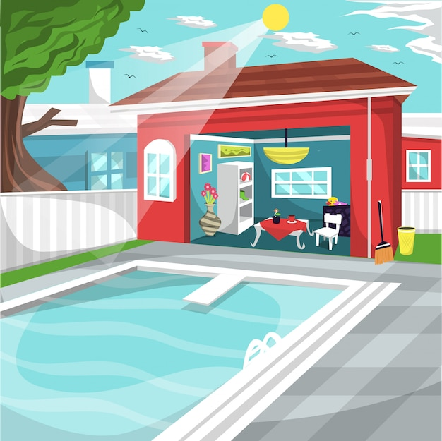 Swimming pool at home backyard with cozy rest area Premium Vector