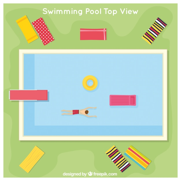 Swimming Pool In A Top View With Deck Chairs Free Vector