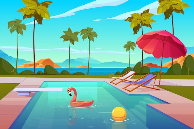 ホテルまたはリゾートの屋外プール 無料ベクター