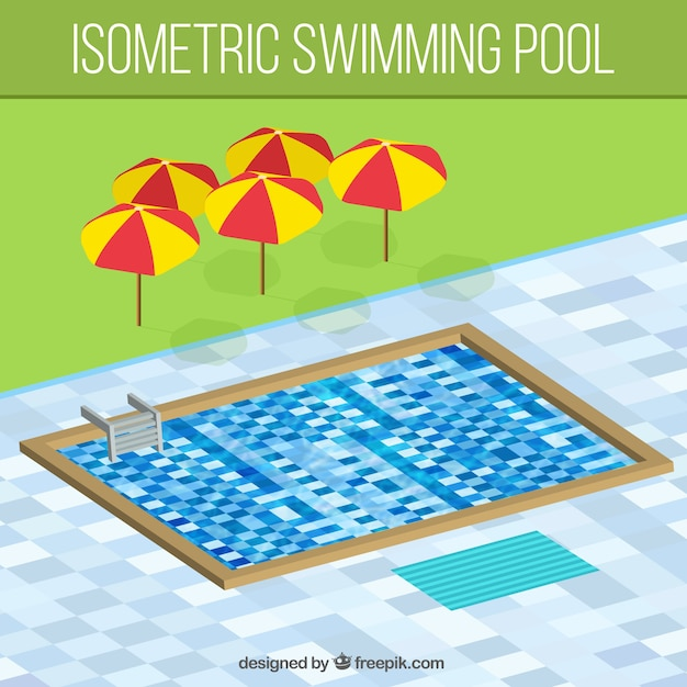 Swimming Pool In Isometric Style Vector Free Download