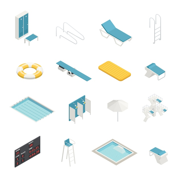 Swimming pool isometric elements set Free Vector