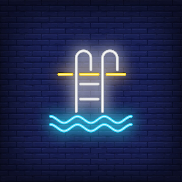 Swimming pool ladder neon sign Free Vector