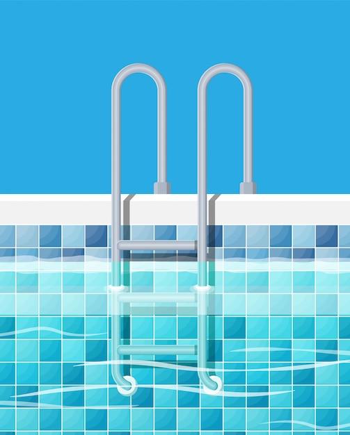 Swimming pool and ladder. Premium Vector