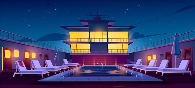 夜のクルーズライナーのプール、サンラウンジャー、パラソル、イルミネーションを備えた空の船のデッキ。海または海の豪華なヨット。星空の下の客船、漫画のベクトル図 無料ベクター