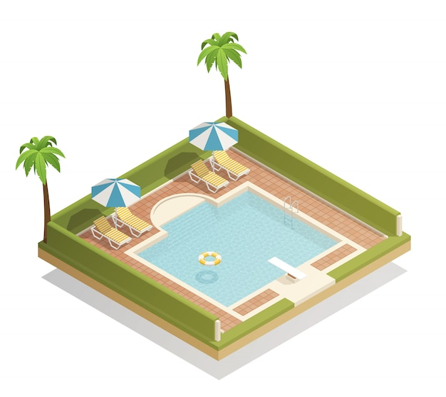 Swimming pool outdoor isometric Free Vector