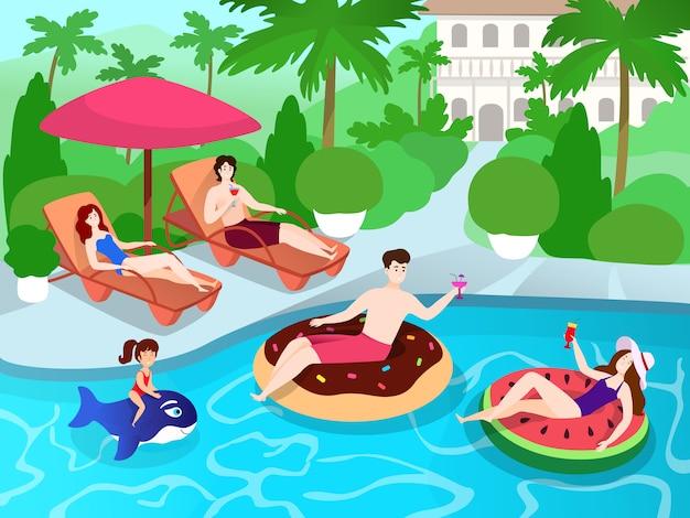 家族や友人の高級ヴィラリゾート、夏休みのイラストでのスイミングプールパーティー Premiumベクター