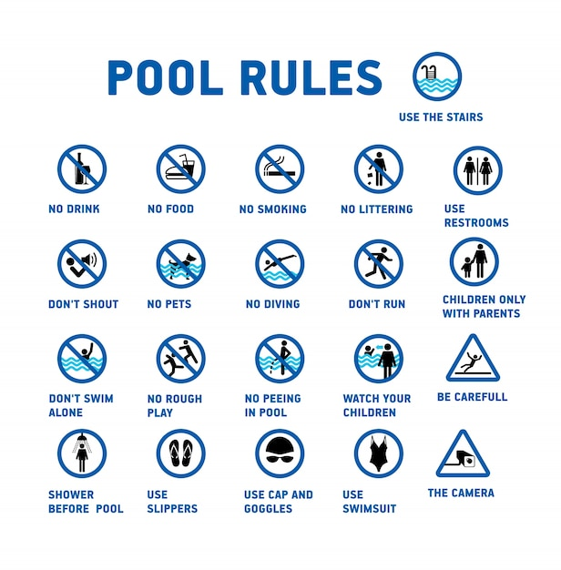 Swimming pool rules set of icons and symbol for pool - Swimming pool rules and regulations signs ...