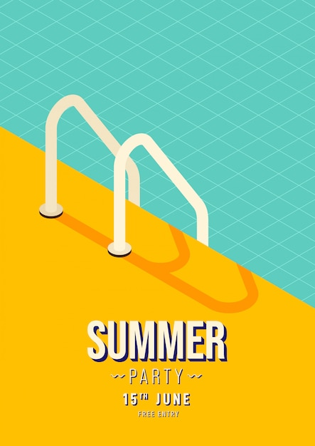 Swimming pool stairs summer party poster Premium Vector