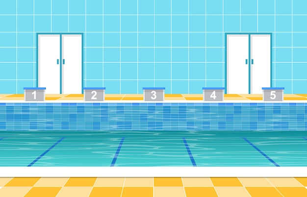 Swimming Pool Summer Holiday Healthy Sport Cartoon Premium Vector