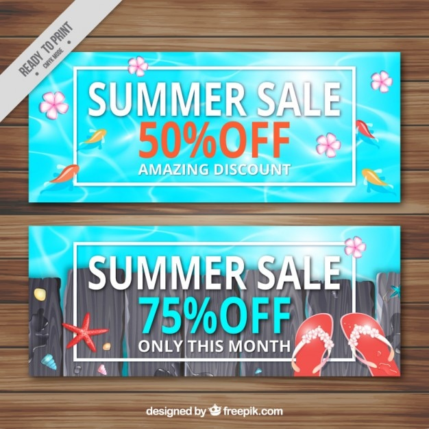 Swimming pool summer sale banners