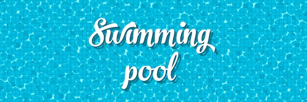 Swimming pool top view with reflection. Premium Vector