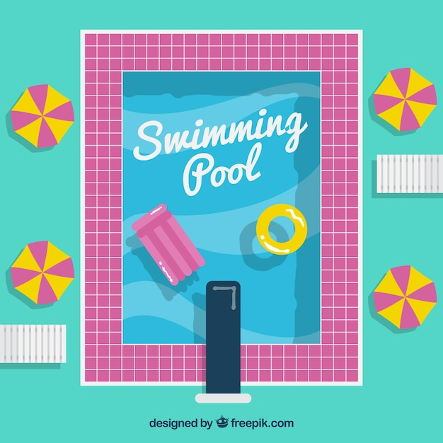 Swimming pool with a pink border with floats\ background