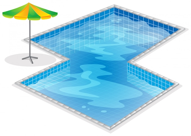 A swimming pool with a beach umbrella Free Vector