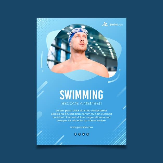 수영 포스터 템플릿 무료 벡터