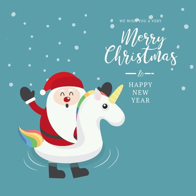 Swimming ring unicorn with santa on christmas background. Premium Vector