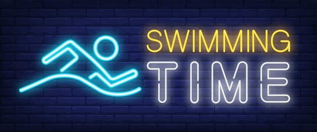 Swimming time neon sign. glowing bar lettering with swimming man Free Vector