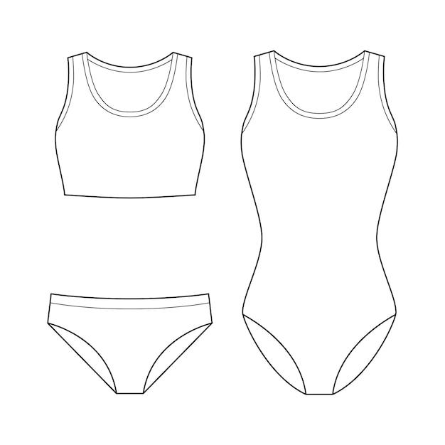 Swimwear fashion flat technical drawing vector template Premium Vector