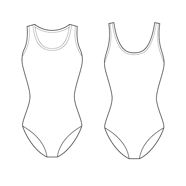 Swimwear fashion flat technical drawing vector template Premium Vector
