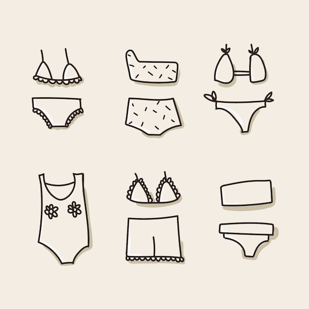 Swimwear, underwear icons Premium Vector