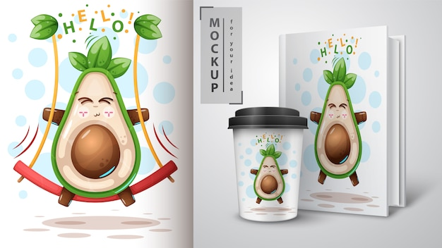 Swing avocado and merchandising Premium Vector