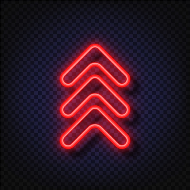 Swipe up neon sign. glowing neon arrow pointer isolated. realistic glowing bright neon arrow. button for social media Premium Vector