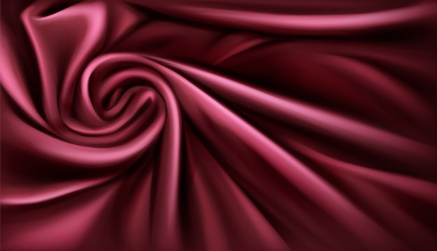 Swirl fabric silk backdrop, luxurious vinous drapery folded textile with soft spiral vortex satin waves Free Vector