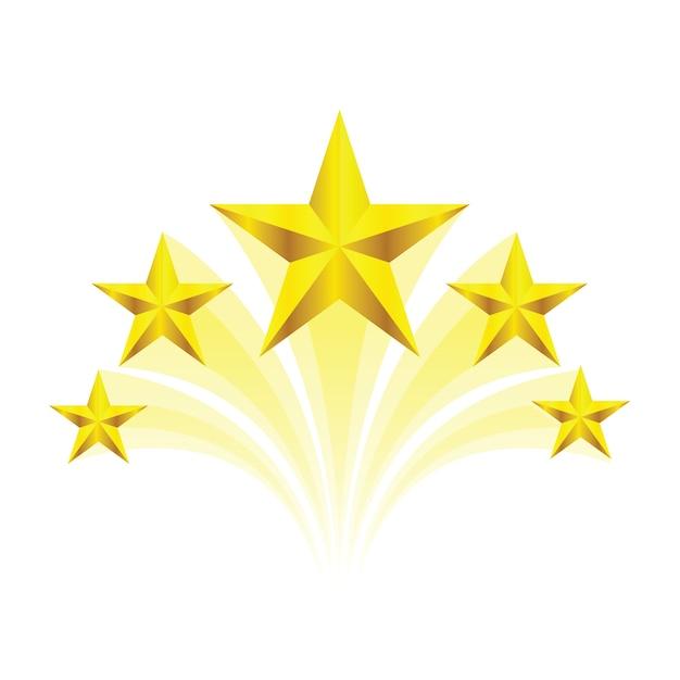 Swirl golden five star Premium Vector