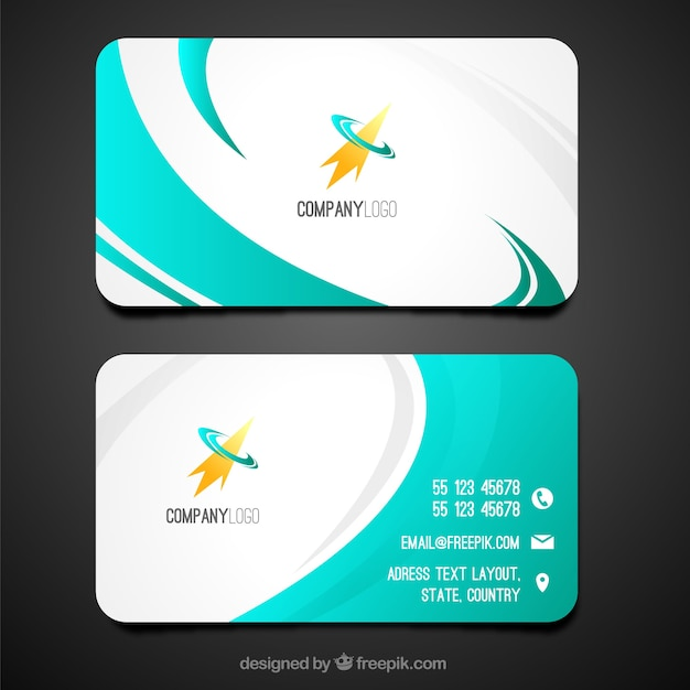 Swirly business card template Free Vector