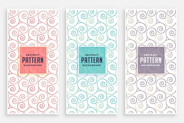 Swirly patterns set of three colors Free Vector