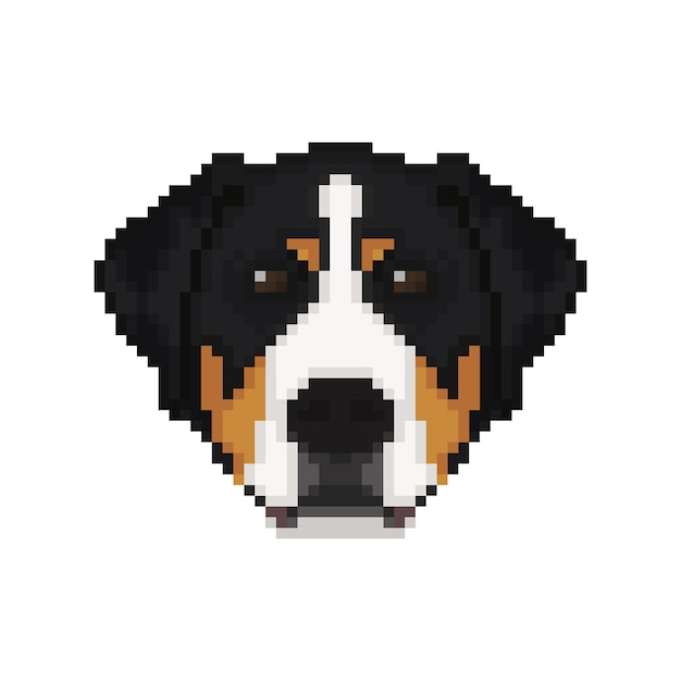 Swiss Mountain Dog Head In Pixel Art Style Vector Premium
