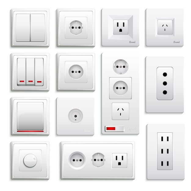 Switches and sockets realistic set Free Vector