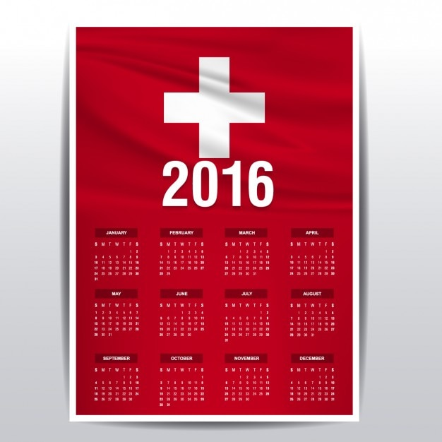 Switzerland calendar of 2016 Vector | Free Download