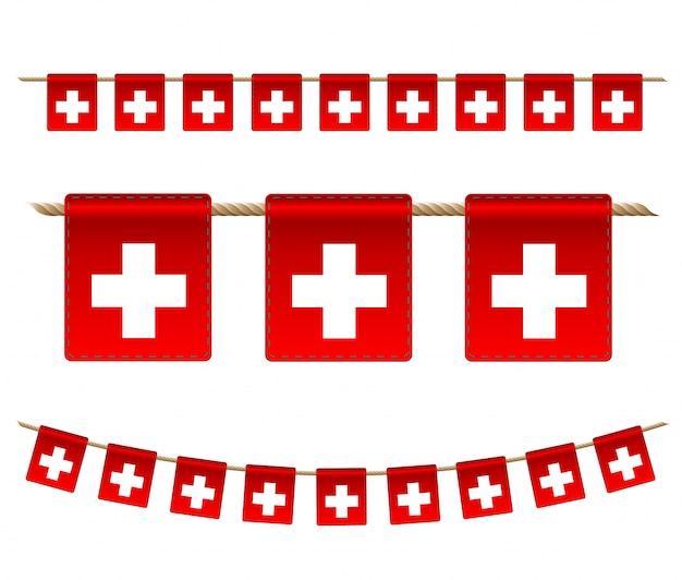 白い背景の上のスイスのガーランドフラグ、スイスのお祝いテンプレートのハンティングホオジロ Premiumベクター