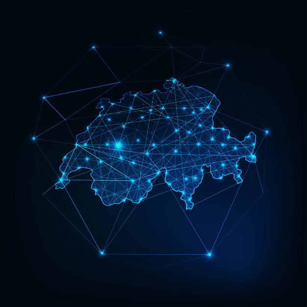 Switzerland map glowing silhouette outline made of stars lines dots triangles, low polygonal shapes. Premium Vector