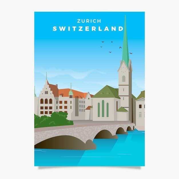 Switzerland promotional flyer template Free Vector