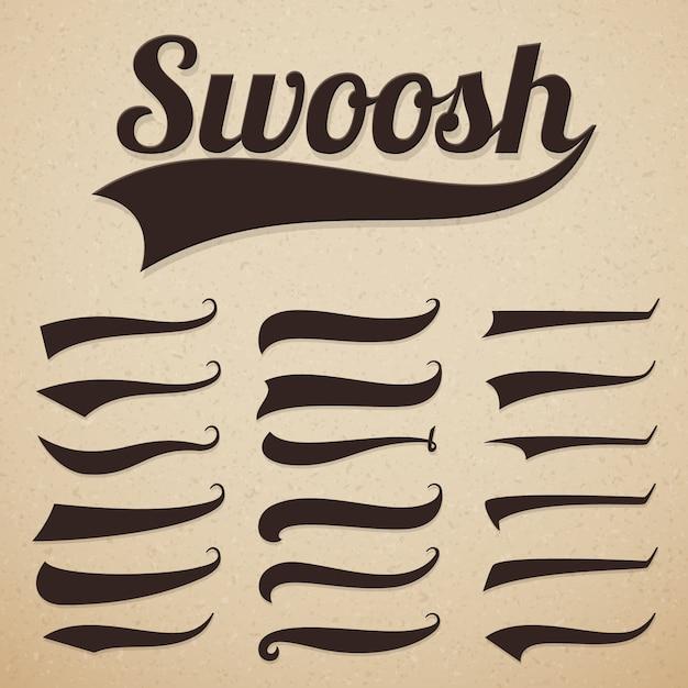 Ретро текстовые хвосты swooshes swish, swooshes и swash для винтажной бейсбольной типографии Premium векторы