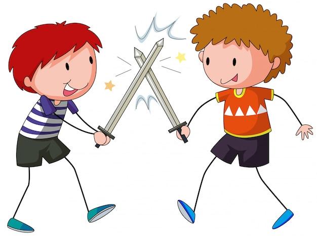 Sword fighting Free Vector