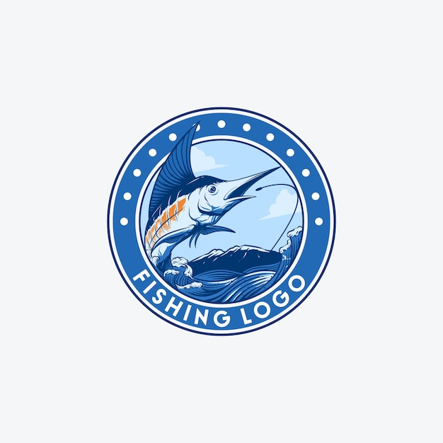 Sword fish fishing logo Premium Vector