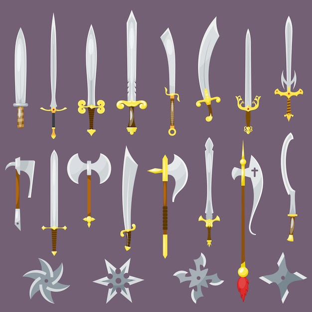 Sword medieval weapon of knight with sharp blade and pirates knife broadsword set Premium Vector