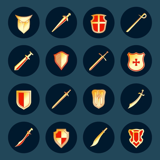 Swords antique military knight weapon and steel warrior shields round isolated Free Vector